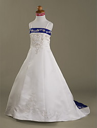 A-Line Princess Court Train Flower Girl Dress - Satin Sleeveless Spaghetti Straps with Beading by LAN TING BRIDE®
