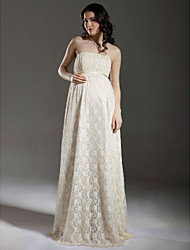 Sheath / Column Strapless Floor Length Lace Wedding Dress with Sash / Ribbon Draped by LAN TING BRIDE®