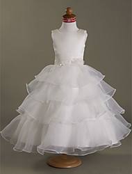 A-line abito di sfera vestito dalla ragazza di fiore di lunghezza del tè della principessa - collo quadrato sleeveless dal lan della sposa di lan