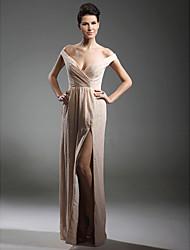 Bainha / coluna v-neck fora do ombro comprimento do chão chiffon vestido de noite com beading by ts couture®