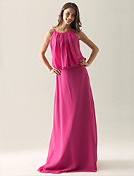 Sheath / Column Spaghetti Straps Floor Length Chiffon Bridesmaid Dress with Draping by LAN TING BRIDE®