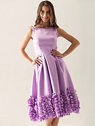 cheap -A-Line Princess Bateau Neck Knee Length Satin Bridesmaid Dress with Ruffles by LAN TING BRIDE®