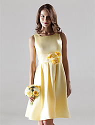 A-Line Straps Knee Length Satin Bridesmaid Dress with Draping Flower(s) by LAN TING BRIDE®