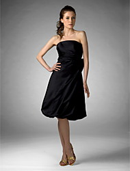 cheap -A-Line Princess Strapless Knee Length Satin Bridesmaid Dress with Bow(s) by LAN TING BRIDE®