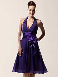 A-Line Halter V-neck Knee Length Chiffon Bridesmaid Dress with Bow(s) Sash / Ribbon by LAN TING BRIDE®