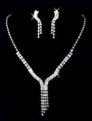 povoljno -prekrasne češki dijamanata s pozlatom legure vjenčanja svadba ogrlica i naušnice nakit set
