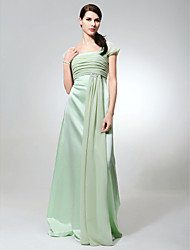 cheap -Sheath / Column Square Neck Floor Length Chiffon / Satin Bridesmaid Dress with Beading / Ruched by LAN TING BRIDE®