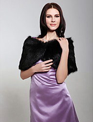Fur Wraps Shrugs Sleeveless Faux Fur Black Wedding / Party/Evening