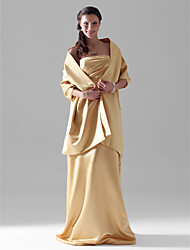 cheap -Sheath / Column Strapless Floor Length Satin Bridesmaid Dress with Side Draping by LAN TING BRIDE®