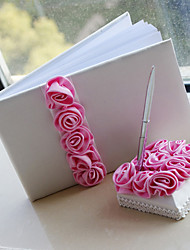 Guest Book Pen Set Satin Garden ThemeWithPetals