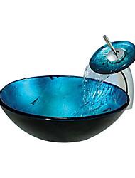 redondo em azul, dissipador da embarcação vidro temperado com torneira em cascata (0888-c-mente-6438-wf)