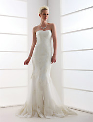 cheap -Mermaid / Trumpet Sweetheart Sweep / Brush Train Tulle Wedding Dress with Beading Appliques by LAN TING BRIDE®