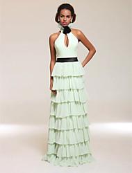 Vestito da sera in chiffon lunghezza del pavimento del v-collo del halter del collare / colonna con il fiore di ts couture®