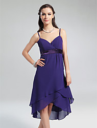 A-Line Princess V-neck Spaghetti Straps Knee Length Asymmetrical Chiffon Bridesmaid Dress with Ruffles by LAN TING BRIDE®