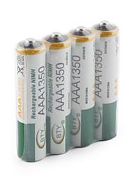 abordables -BTY 1.2V 1350mAh Recargable Ni-MH AAA Batería 4.0 pcs