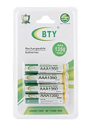 abordables -Juego de Baterías Recargables BTY de 1350mAh AAA de Ni-MH - 4 Unidades