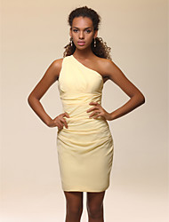 cheap -Sheath / Column One Shoulder Short / Mini Stretch Satin Celebrity Style Cocktail Party Dress with Side Draping / Ruched by TS Couture®