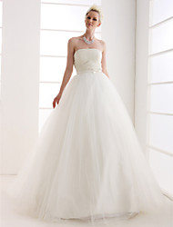 cheap -Ball Gown Strapless Floor Length Tulle Custom Wedding Dresses with Bowknot Beading Sash / Ribbon by LAN TING BRIDE®