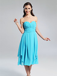 A-Line Princess Strapless Sweetheart Knee Length Chiffon Bridesmaid Dress with Draping Criss Cross Ruching by LAN TING BRIDE®