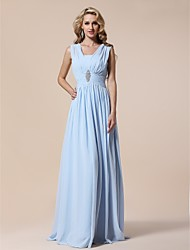 Sheath / Column V-neck Floor Length Chiffon Prom Formal Evening Military Ball Dress with Draping Crystal Brooch Pleats by TS Couture®