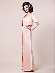 cheap -A-Line Straps Floor Length Satin Mother of the Bride Dress with Beading Split Front by LAN TING BRIDE®
