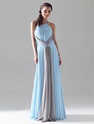 preiswerte -Mantel / Spalte Juwel Hals Spaghetti Riemen Boden Länge Chiffon Prom Kleid mit Falten von ts couture ®