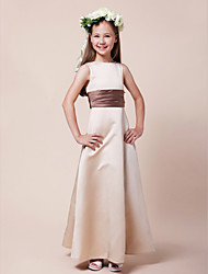 A-Line Princess Bateau Neck Floor Length Satin Junior Bridesmaid Dress with Sash / Ribbon Ruching by LAN TING BRIDE®