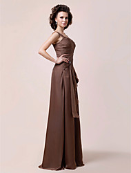 cheap -A-Line Straps Floor Length Chiffon Mother of the Bride Dress with Beading Ruffles Side Draping by LAN TING BRIDE®