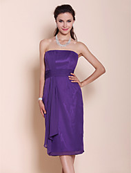 cheap -Sheath / Column Strapless Knee Length Chiffon Bridesmaid Dress with Draping / Ruched by LAN TING BRIDE® / Open Back