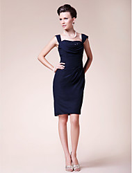 cheap -Sheath / Column Straps Knee Length Chiffon Mother of the Bride Dress with Beading / Side Draping by LAN TING BRIDE®
