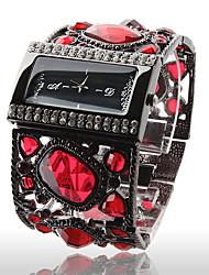 Недорогие -Роскошные женские часы с черным браслетом и камнями