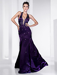 Mermaid / Trumpet Halter Floor Length Satin Formal Evening Military Ball Dress with Beading Draping by TS Couture®