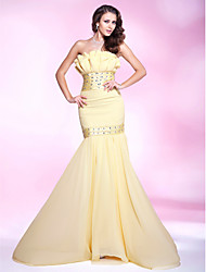 Mermaid / Trumpet Strapless Sweep / Brush Train Chiffon Prom Dress with Beading by TS Couture®