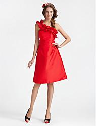 cheap -A-Line / Princess One Shoulder Knee Length Taffeta Bridesmaid Dress with Sash / Ribbon / Ruffles by LAN TING BRIDE®