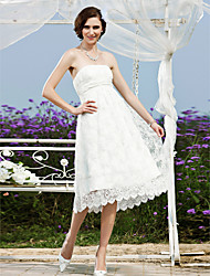 cheap -A-Line / Princess Strapless Tea Length Lace Made-To-Measure Wedding Dresses with Sash / Ribbon by / Little White Dress