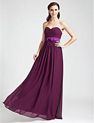 Sheath / Column Strapless Sweetheart Floor Length Chiffon Bridesmaid Dress with Draping by LAN TING BRIDE®