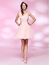 A-Line Princess V-neck Short / Mini Chiffon Homecoming Dress with Draping by TS Couture®