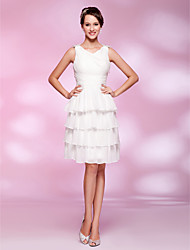 A-Line Princess V-neck Knee Length Chiffon Graduation Dress with Beading TS Couture®
