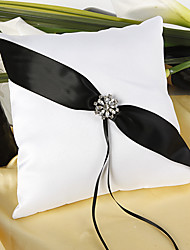 Shimmering Twilight Wedding Ring Pillow In Black And White Wedding Ceremony