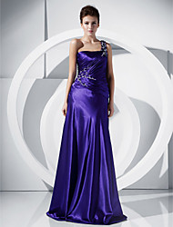 A-Line Princess One Shoulder Floor Length Charmeuse Prom Dress with Beading by TS Couture®