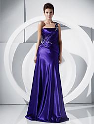 Una linea principessa una spalla lunghezza pavimento charmeuse abito da sposa con perline da ts couture®