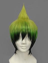 cheap -Cosplay Wigs Blue Exorcist Amaimon Green Short Anime Cosplay Wigs 30 CM Heat Resistant Fiber Male