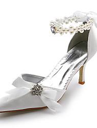 cheap -Women's Shoes Satin Stretch Satin Spring Summer Stiletto Heel Ribbon Tie for Wedding White Ivory