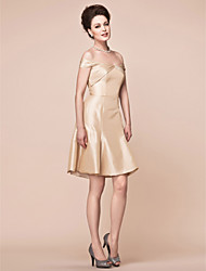 cheap -A-Line Off Shoulder Knee Length Taffeta Mother of the Bride Dress with Side Draping by LAN TING BRIDE®