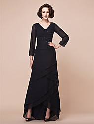 cheap -A-Line V-neck Asymmetrical Chiffon Mother of the Bride Dress with Beading Side Draping by LAN TING BRIDE®