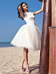 cheap -Ball Gown Bateau Neck Knee Length Satin Tulle Custom Wedding Dresses with Draping by LAN TING BRIDE®