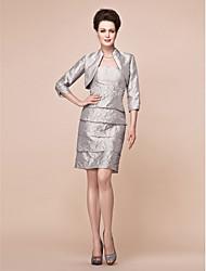 abordables -Fourreau / Colonne Sans Bretelles Mi-long Taffetas Robe de Mère de Mariée  - Billes par LAN TING BRIDE®