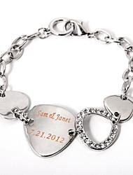 Недорогие -Персонализированный, серебряный браслет, с металлической биркой