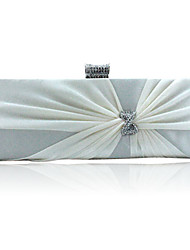 Women Bags Satin Evening Bag Crystal/ Rhinestone for Event/Party Purple Red Champagne Ivory