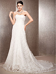 A-Line Princess Sweetheart Court Train Lace Wedding Dress with Beading Sash / Ribbon Draped Ruche by LAN TING BRIDE®
